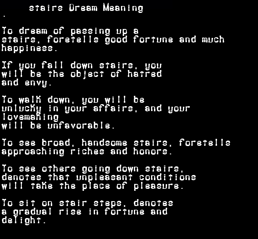 dream meanings stairs