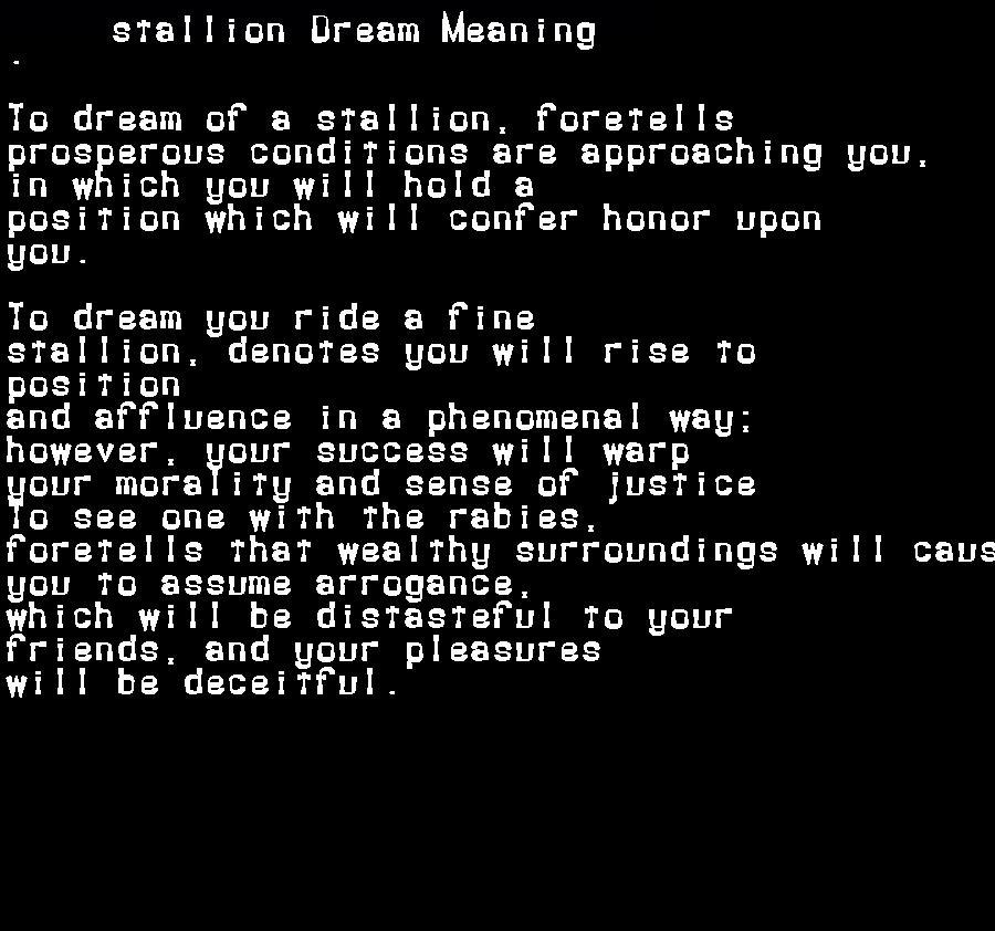 dream meanings stallion