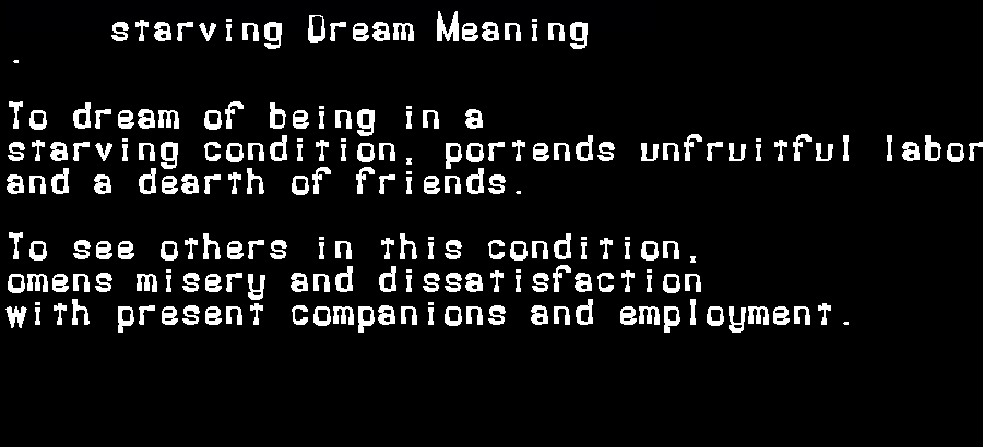 dream meanings starving