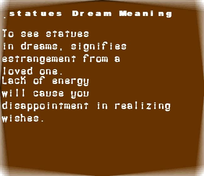 dream meanings statues
