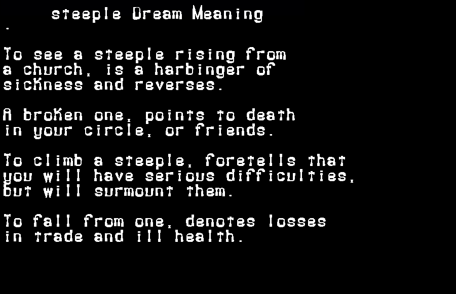 dream meanings steeple