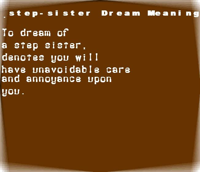 dream meanings step-sister