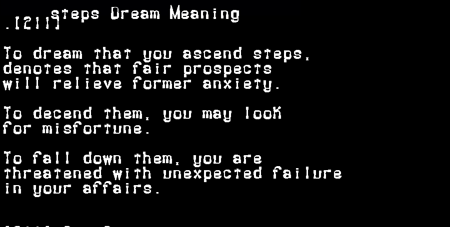 dream meanings steps