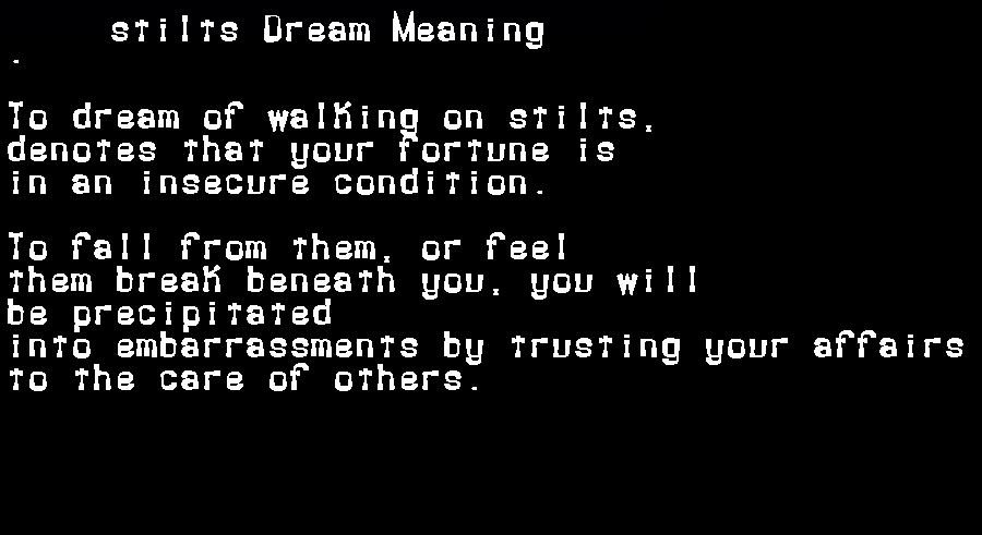 dream meanings stilts