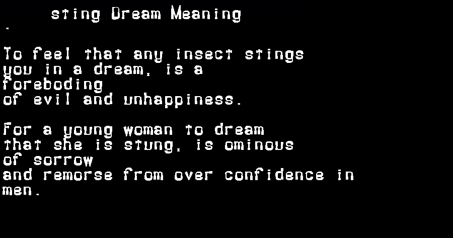dream meanings sting