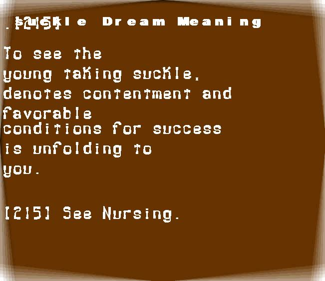 dream meanings suckle