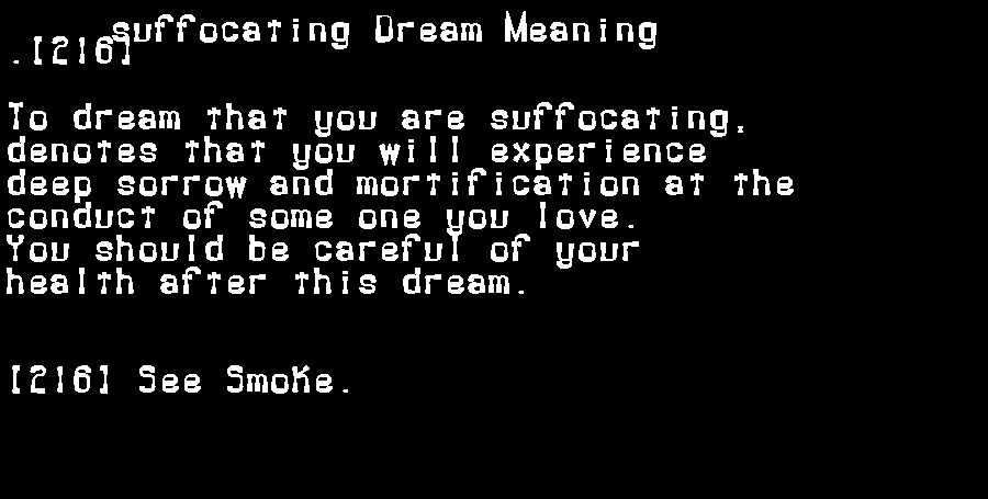 dream meanings suffocating