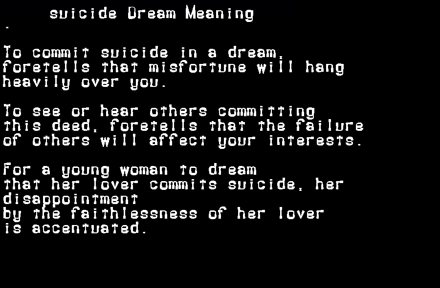 dream meanings suicide