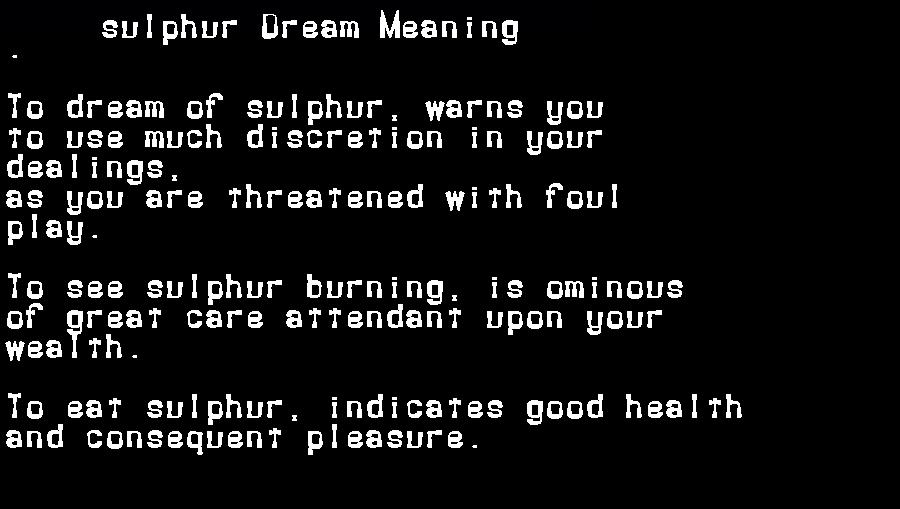 dream meanings sulphur