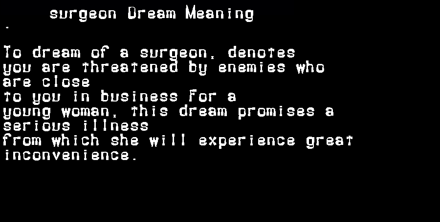 dream meanings surgeon