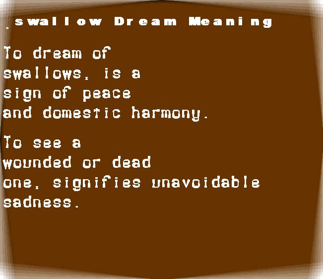 dream meanings swallow
