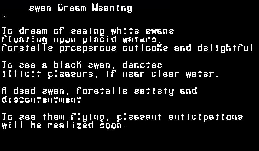 dream meanings swan