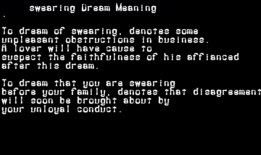 dream meanings swearing