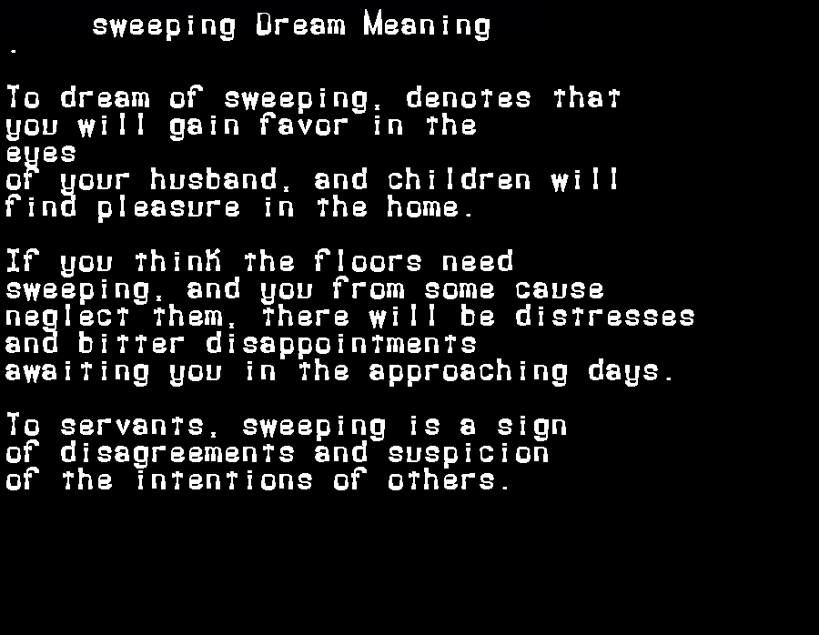 dream meanings sweeping
