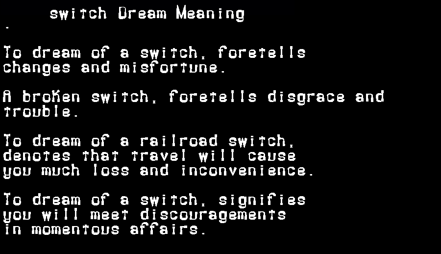 dream meanings switch