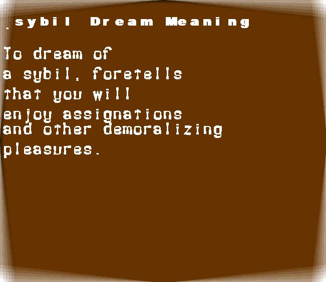 dream meanings sybil