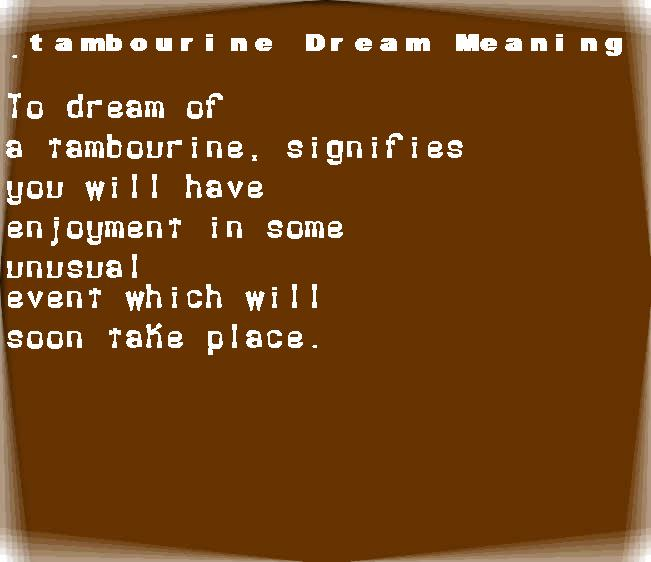 dream meanings tambourine