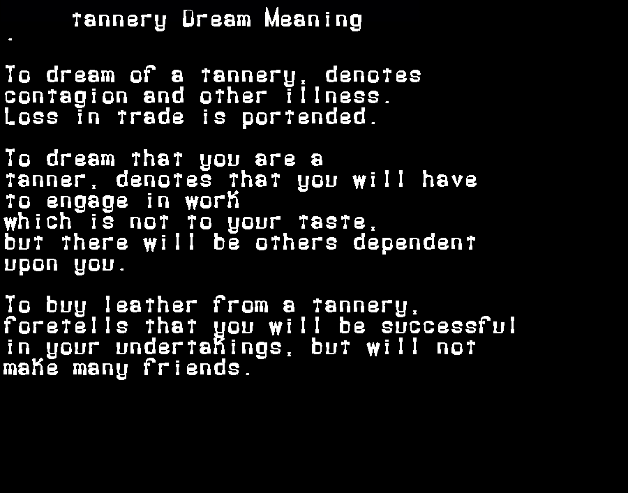 dream meanings tannery