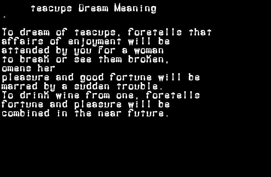 dream meanings teacups