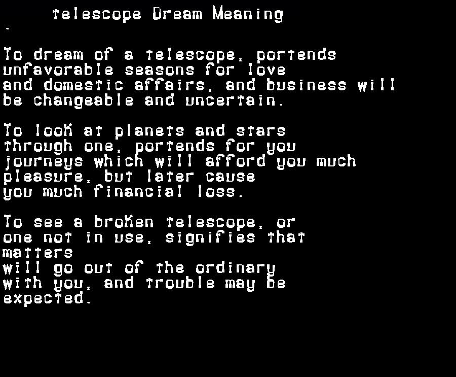 dream meanings telescope