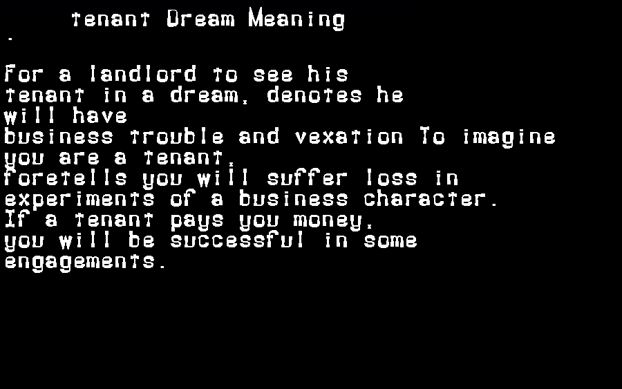 dream meanings tenant