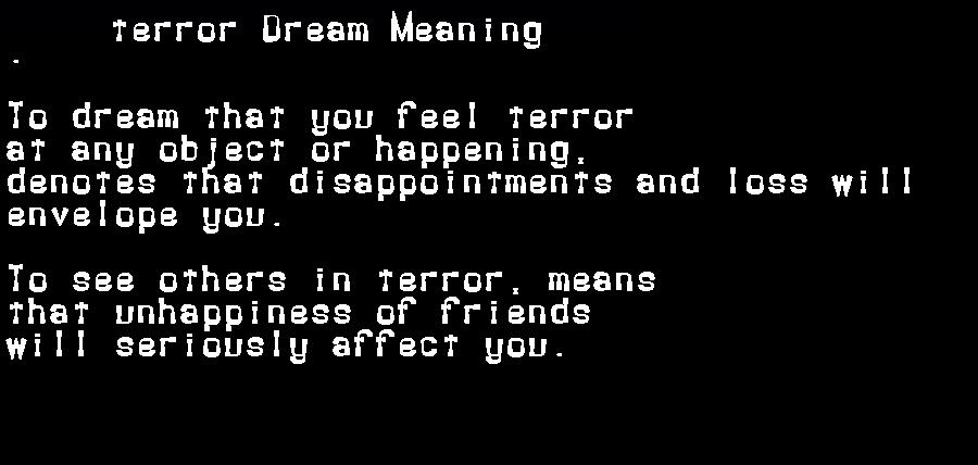 dream meanings terror