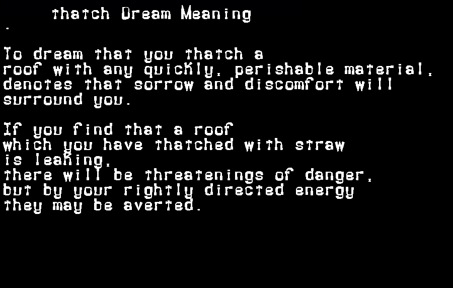 dream meanings thatch