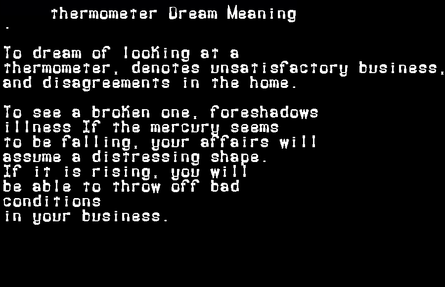 dream meanings thermometer