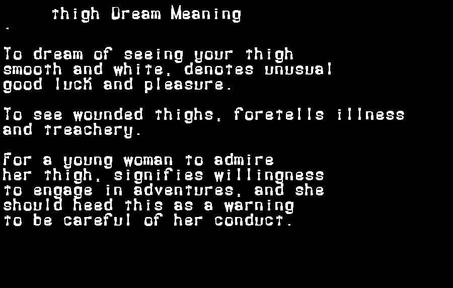 dream meanings thigh