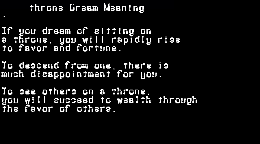 dream meanings throne