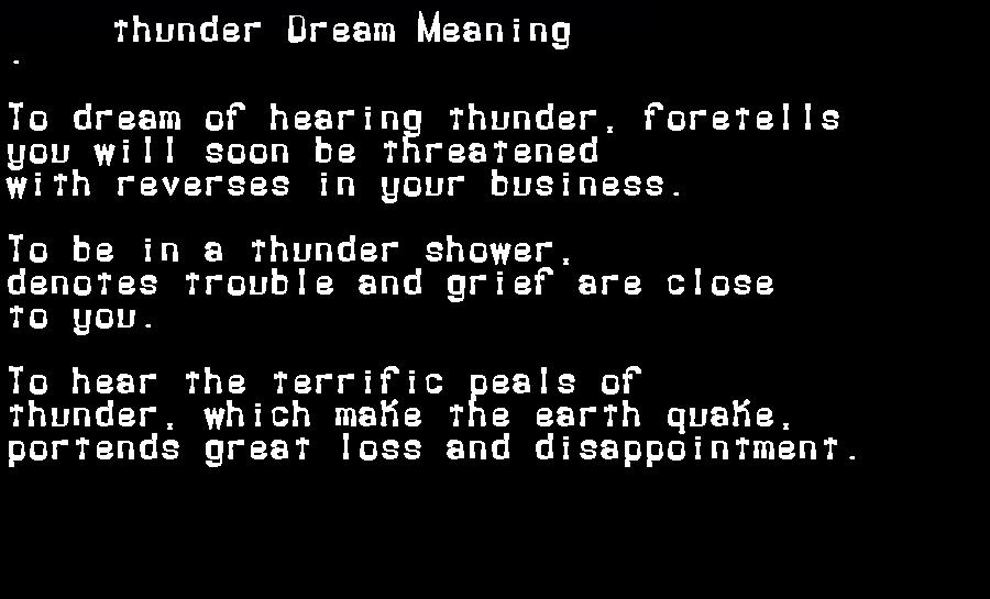 dream meanings thunder