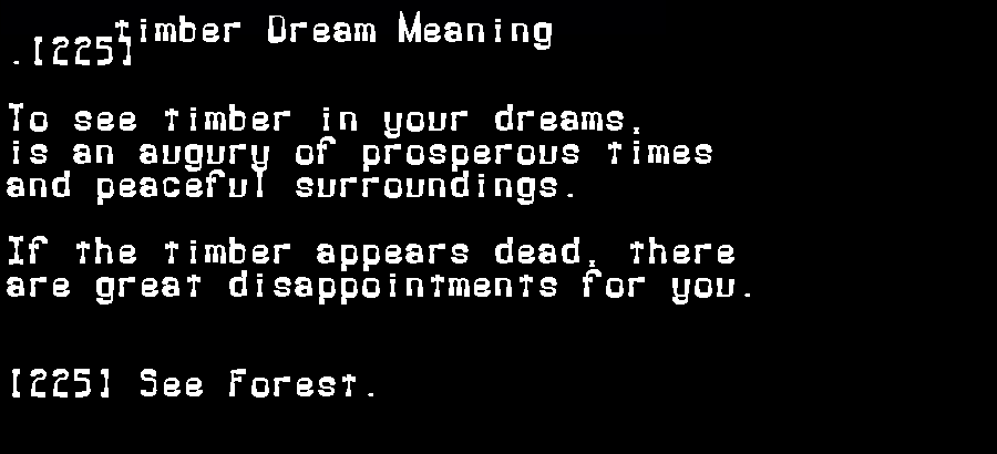 dream meanings timber