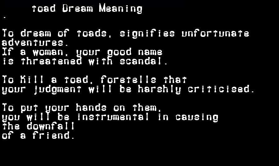 dream meanings toad