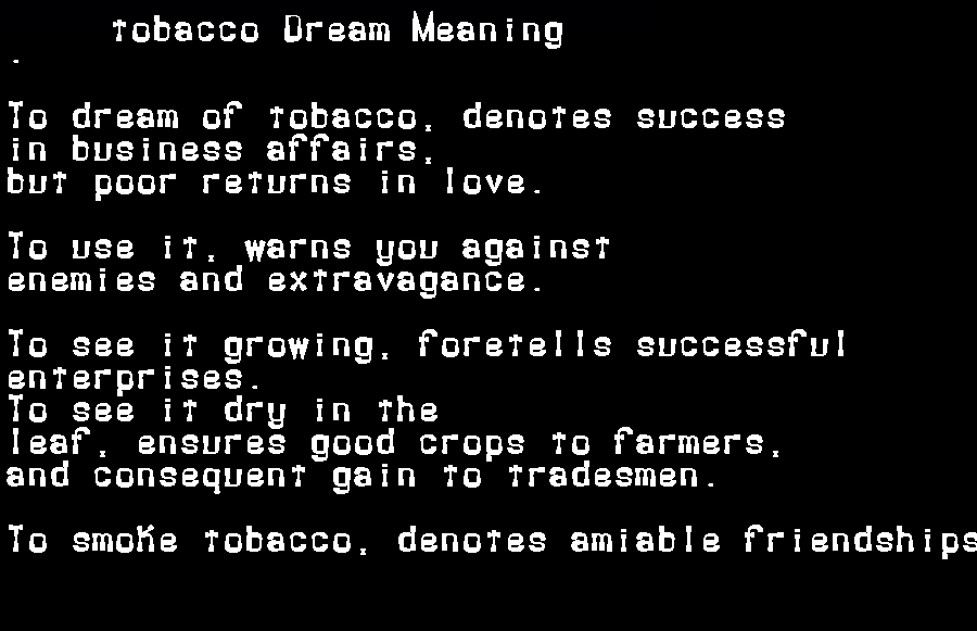 dream meanings tobacco