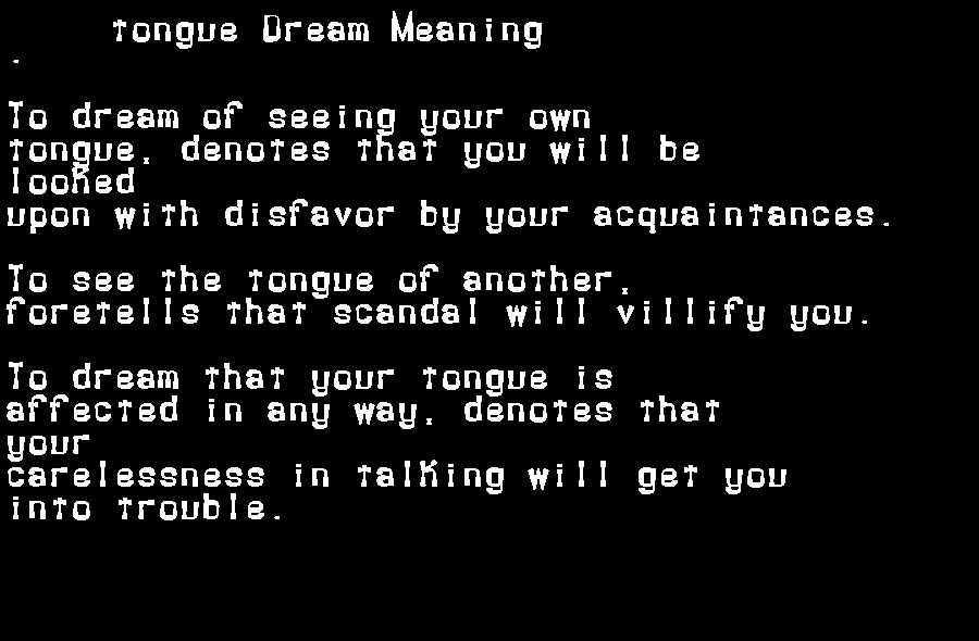 dream meanings tongue
