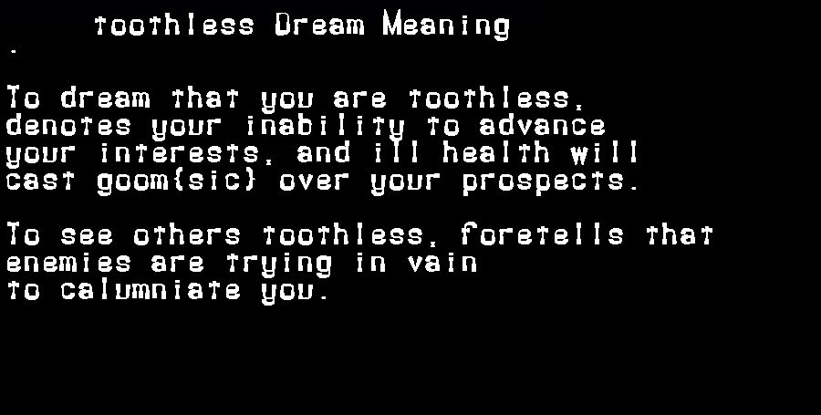 dream meanings toothless