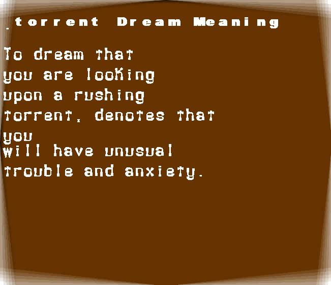 dream meanings torrent