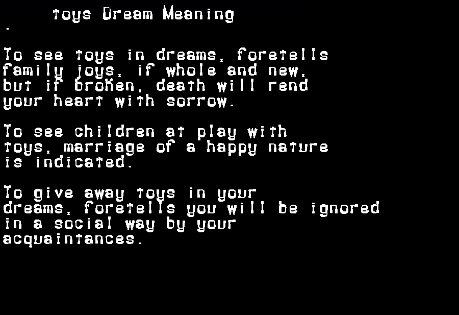 dream meanings toys