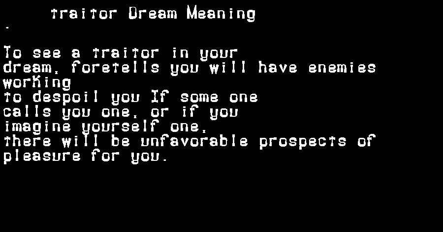 dream meanings traitor