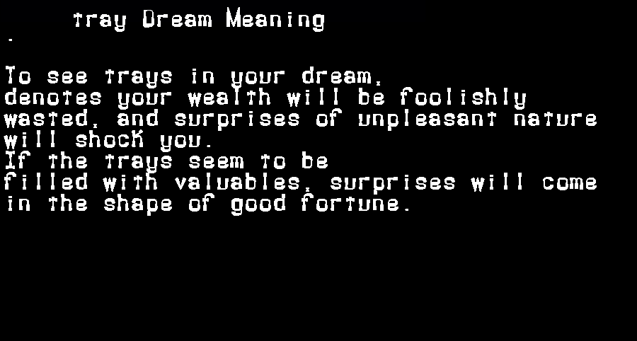 dream meanings tray