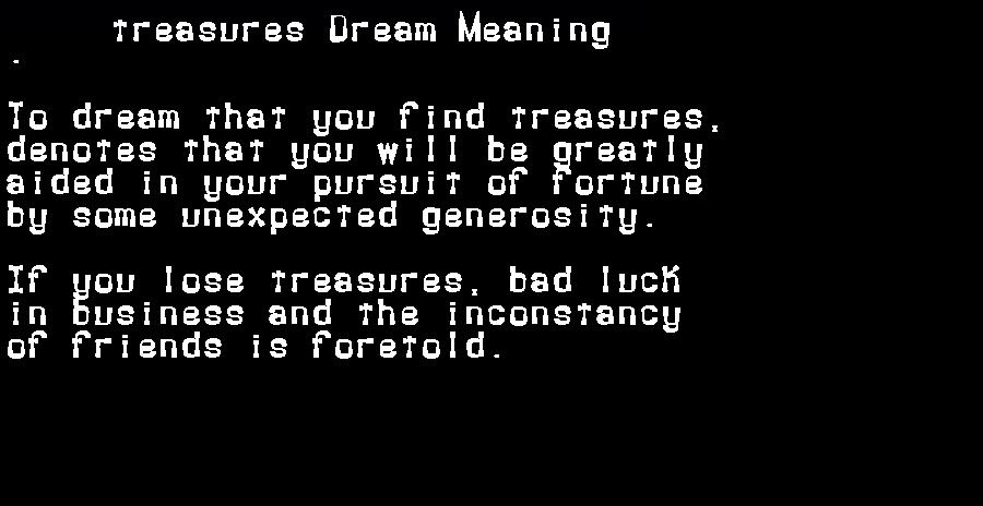 dream meanings treasures