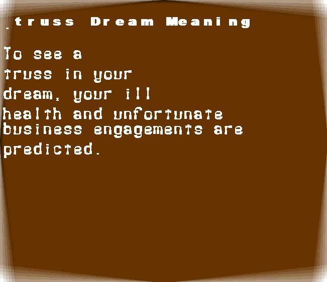 dream meanings truss