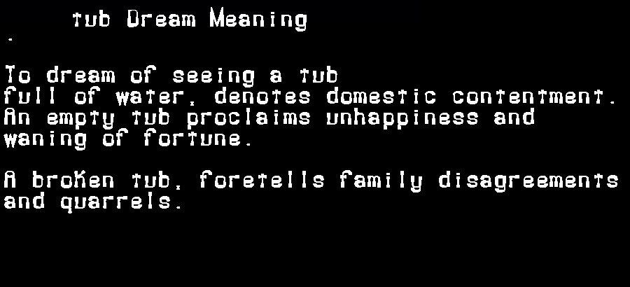 dream meanings tub