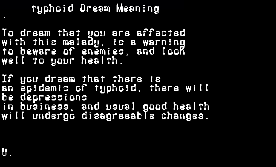 dream meanings typhoid