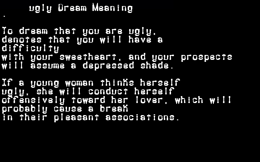 dream meanings ugly