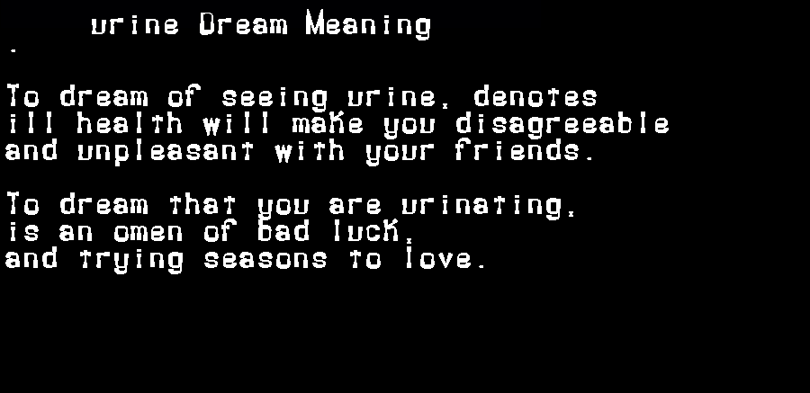 dream meanings urine