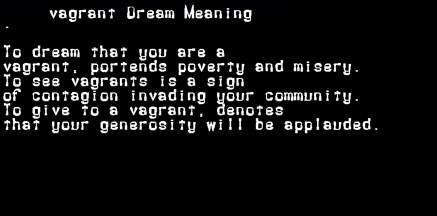 dream meanings vagrant