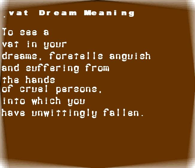 dream meanings vat