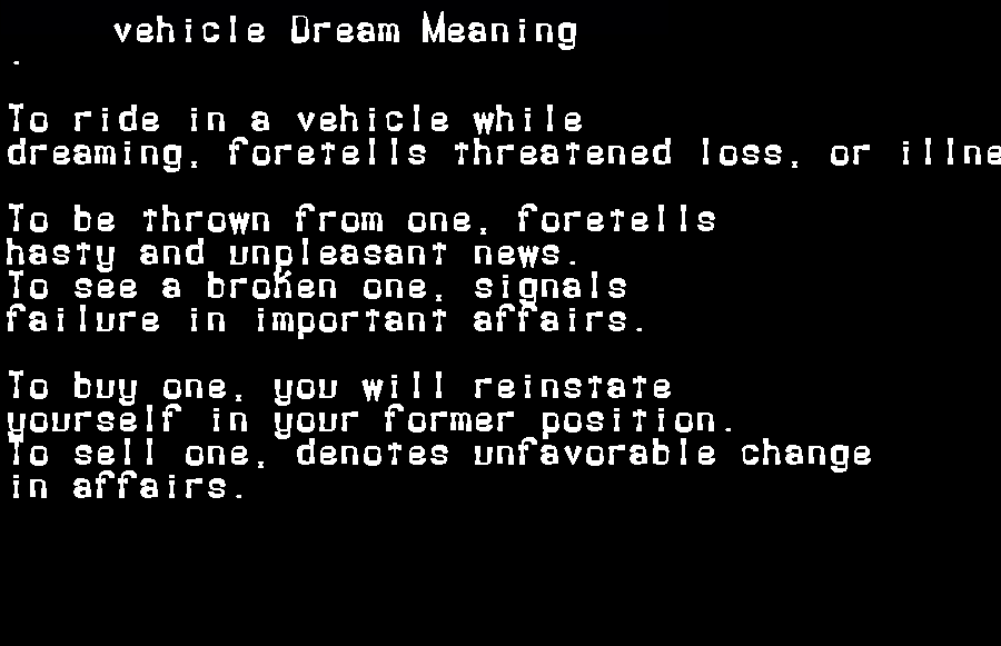 dream meanings vehicle