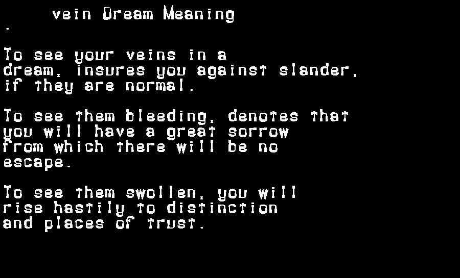 dream meanings vein